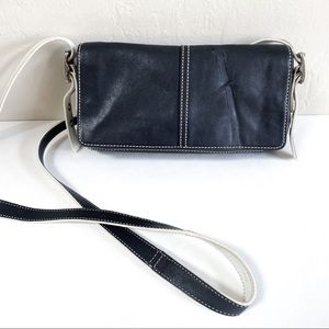 Coach Vintage White Black Crossbody Purse Bag